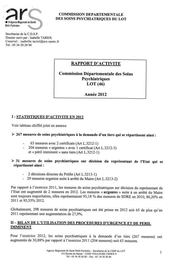 Rapport cdsp   lot - 46 - année 2012