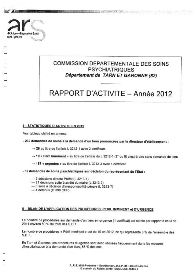 Rapport cdsp   tarn et garonne - 82- année 2012