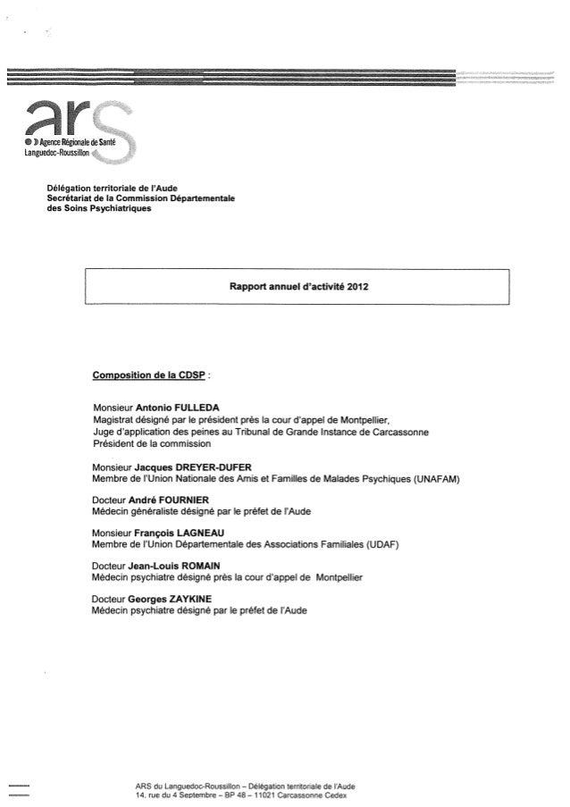Rapport cdsp aude   11 - année 2012