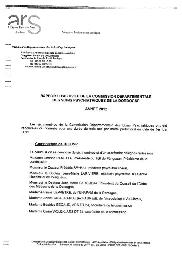 Rapport cdsp dordogne   24  - année 2012