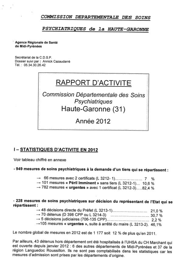 Rapport cdsp haute garonne - 31 - année 2012