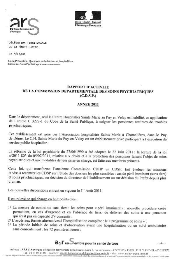 Rapport cdsp haute loire - 43 - années 2011 et 2012