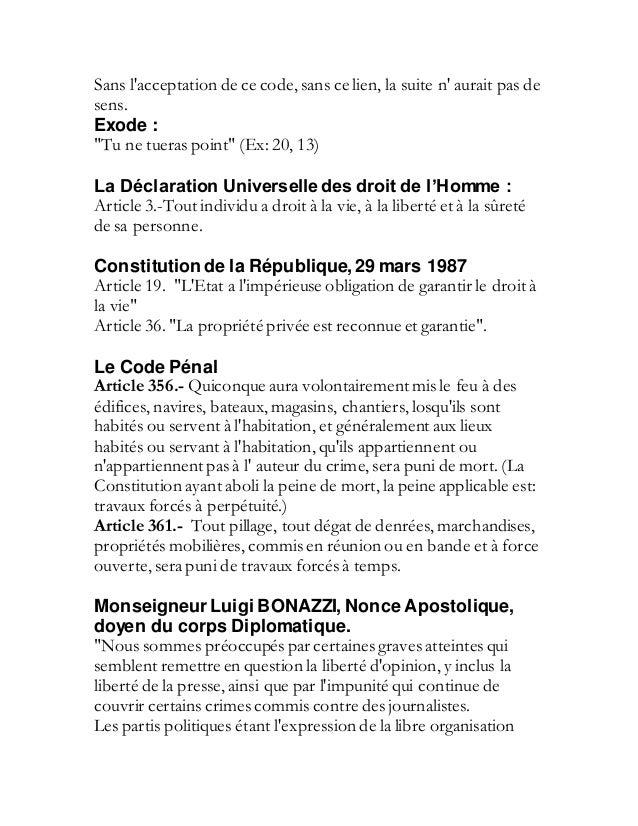 17 d cembre 2001 faux coup d 39 etat organise par jean - Coups et blessures volontaires code penal ...