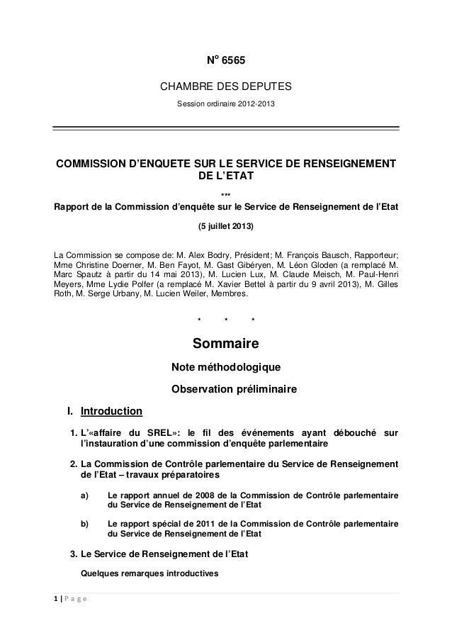 1 | P a g e No 6565 CHAMBRE DES DEPUTES Session ordinaire 2012-2013 COMMISSION D'ENQUETE SUR LE SERVICE DE RENSEIGNEMENT D...