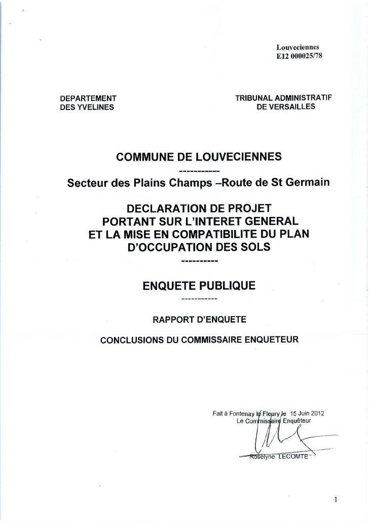 Rapport commissaire enquêteur plains champs