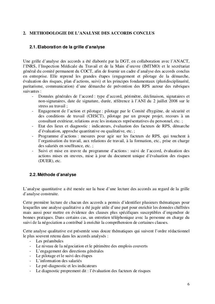 Rapport complet analyse des accords sign s dans les - Grille d evaluation des risques psychosociaux ...