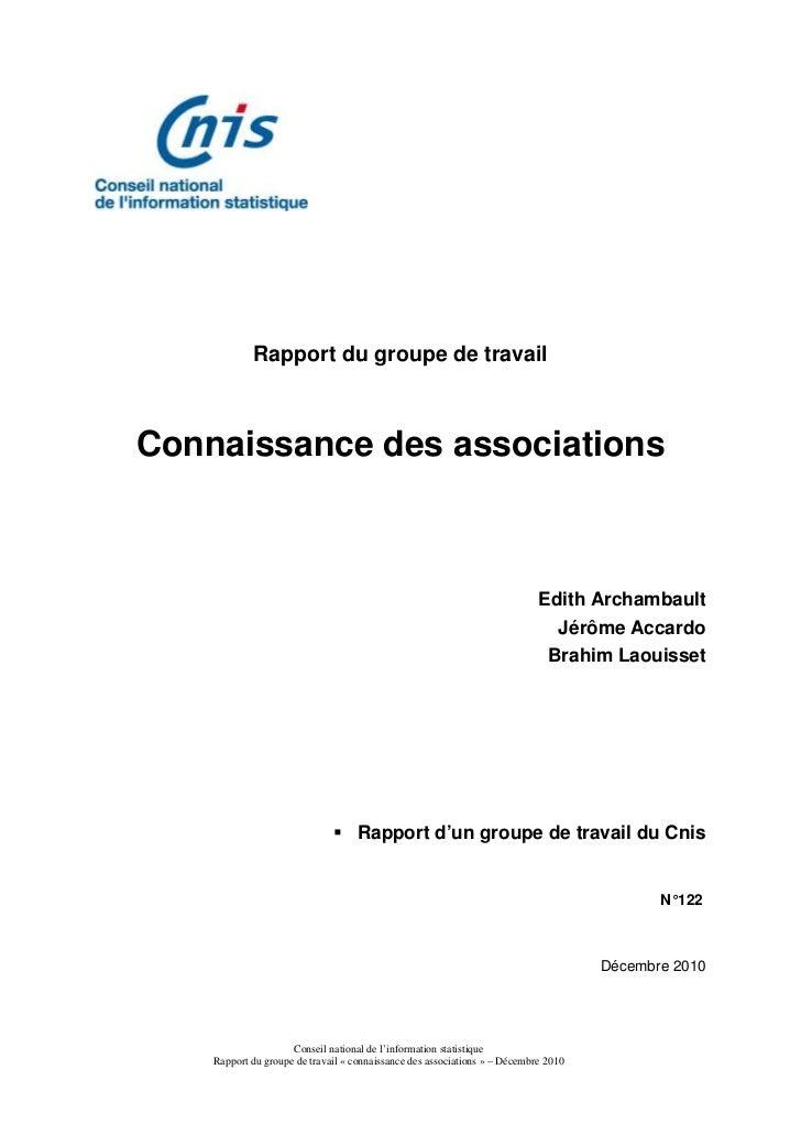 Rapport du groupe de travailConnaissance des associations                                                                 ...
