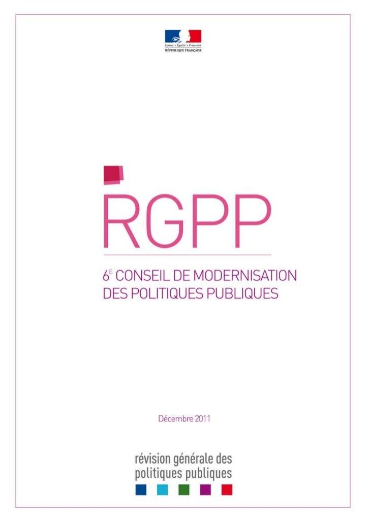 SOMMAIRE 1) Synthèse Note de synthèse        Synthèse générale          L'état d'avancement de la RGPP          Des rés...