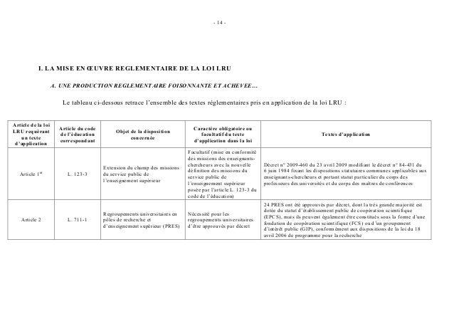 - 14 -           I. LA MISE EN ŒUVRE REGLEMENTAIRE DE LA LOI LRU                    A. UNE PRODUCTION REGLEMENTAIRE FOISON...