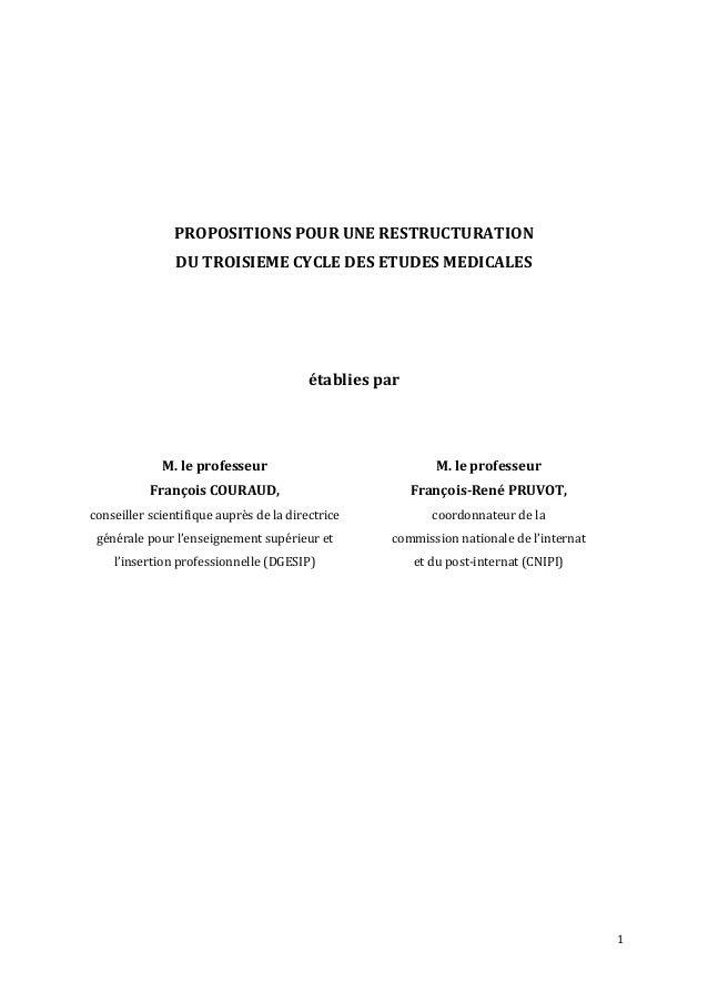 1                        PROPOSITIONS  POUR  UNE  RESTRUCTURATION   DU  TROISIEME  CYCLE  ...