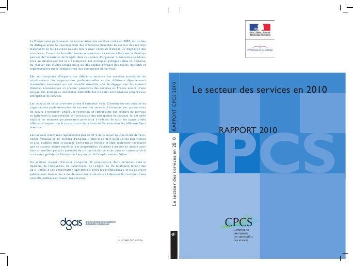 Le secteur des services en 2010CPCS      RAPPORT 2010