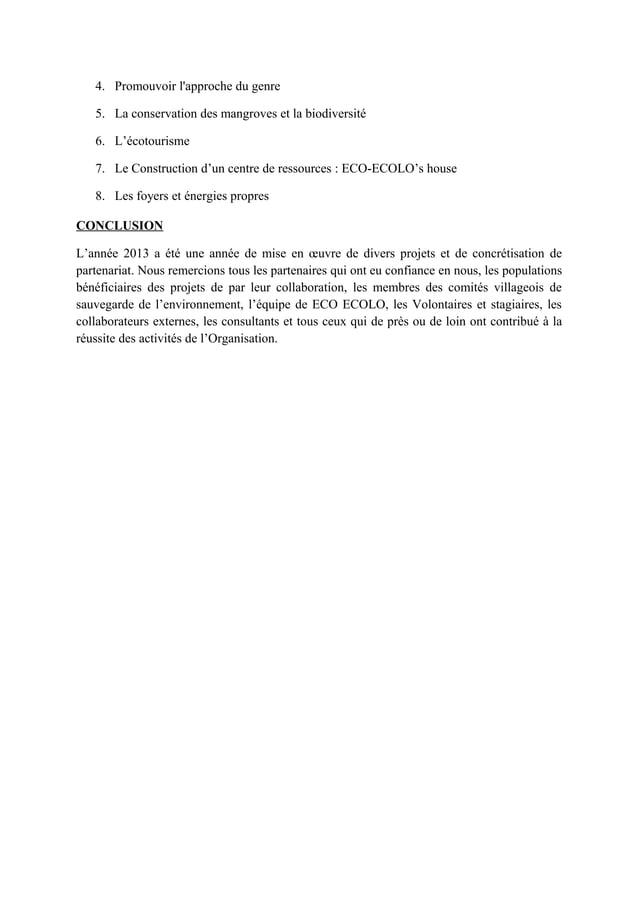 4. Promouvoir l'approche du genre 5. La conservation des mangroves et la biodiversité 6. L'écotourisme 7. Le Construction ...