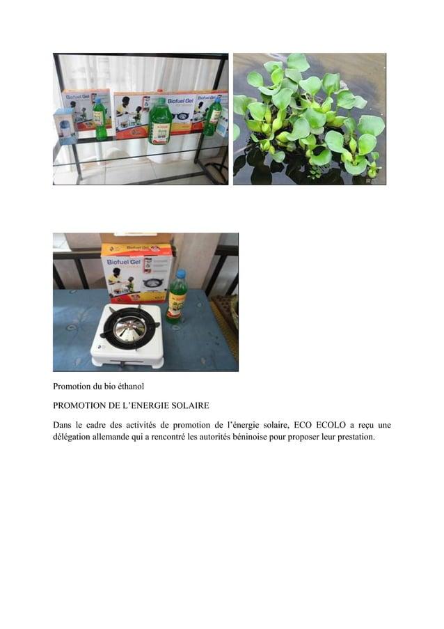 Promotion du bio éthanol PROMOTION DE L'ENERGIE SOLAIRE Dans le cadre des activités de promotion de l'énergie solaire, ECO...