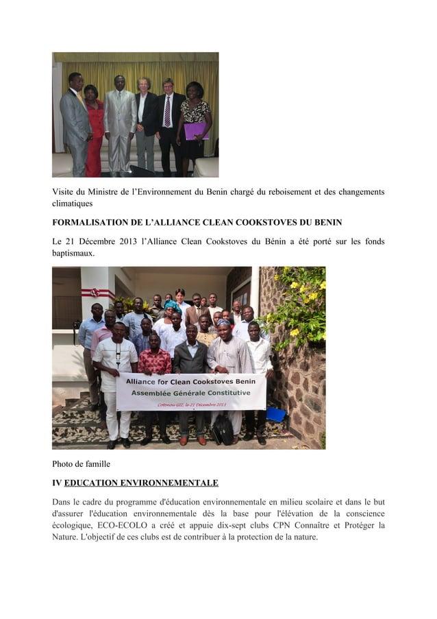 Visite du Ministre de l'Environnement du Benin chargé du reboisement et des changements climatiques FORMALISATION DE L'ALL...