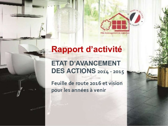Rapport d'activité ETAT D'AVANCEMENT DES ACTIONS 2014 - 2015 Feuille de route 2016 et vision pour les années à venir