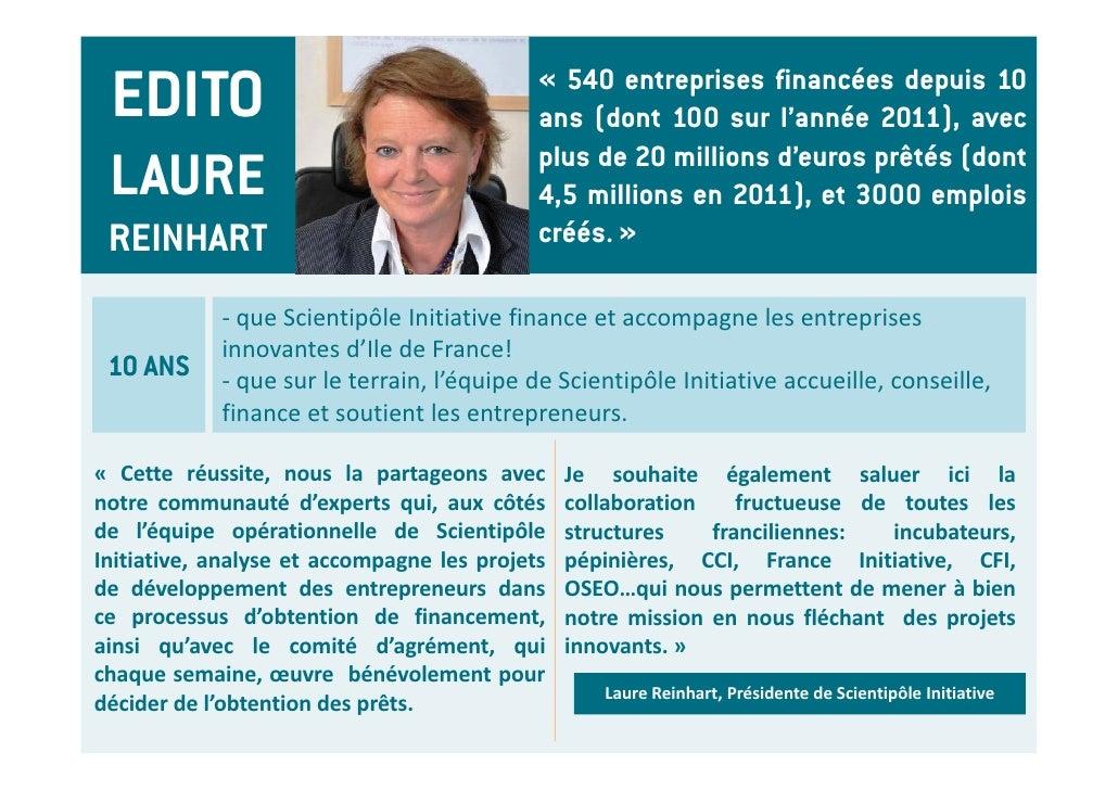 EDITO                                      « 540 entreprises financées depuis 10                                          ...