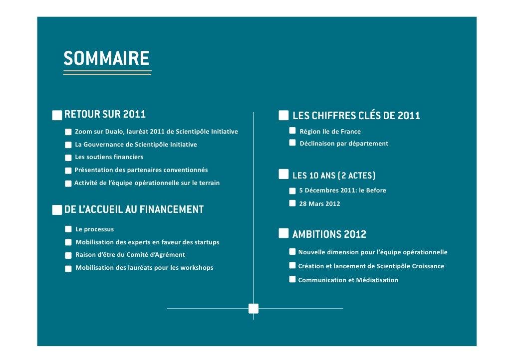 SOMMAIRERETOUR SUR 2011                                            LES CHIFFRES CLÉS DE 2011  ZoomsurDualo,lauréat2011...