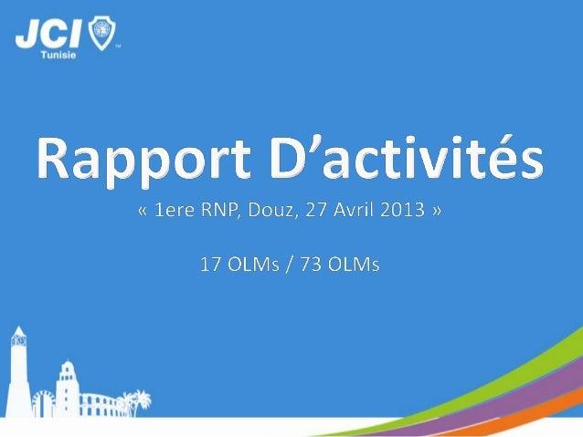 RAPPORT D'ACTIVITEOLM BennaneTunisie