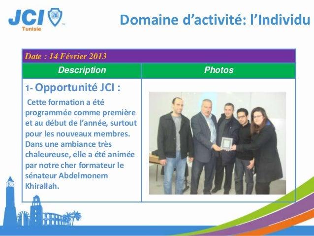 Domaine d'activité: l'IndividuDate : 27 Mars 2013Description Photos5- Debating :Cette formation est aussi untravail collec...