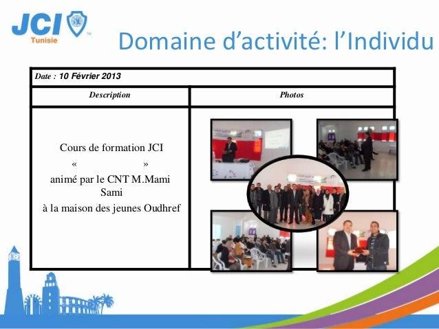 Date : 20 et 21 Avril2013Description PhotosCours de formation« Sécourisme»en collaboration avec LeCroissant Rouge Tunisien...