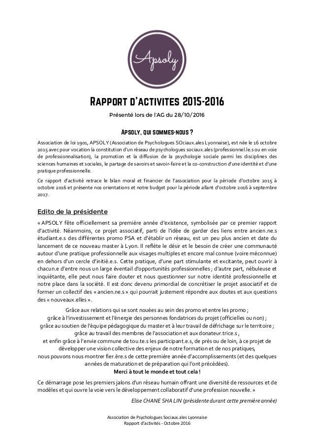 Apsoly Assemblé Générale #2 : Rapport d'activité 2015-2016