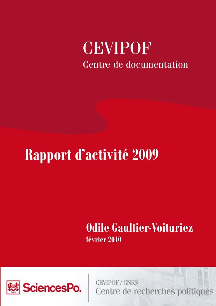CEVIPOF          Centre de documentation     Rapport d'activité 2009              Odile Gaultier-Voituriez           févri...