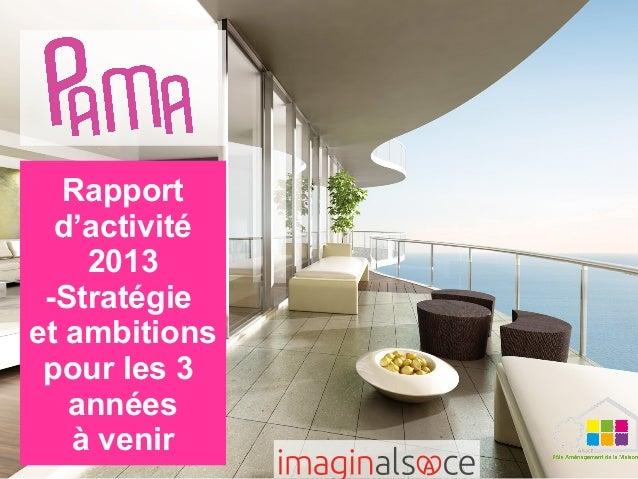 Rapport d'activité 2013 -Stratégie et ambitions pour les 3 années à venir