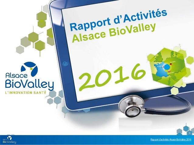 Rapport d'activités Alsace BioValley 2016 1