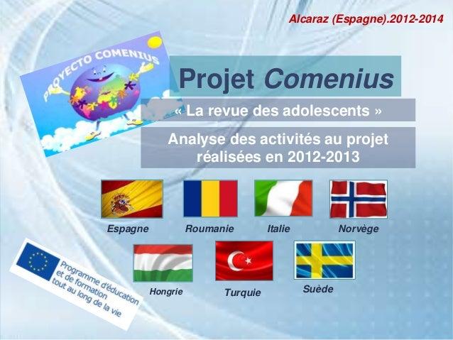 Projet ComeniusEspagne RoumanieSuèdeItalie NorvègeTurquieHongrieAlcaraz (Espagne).2012-2014« La revue des adolescents »Ana...
