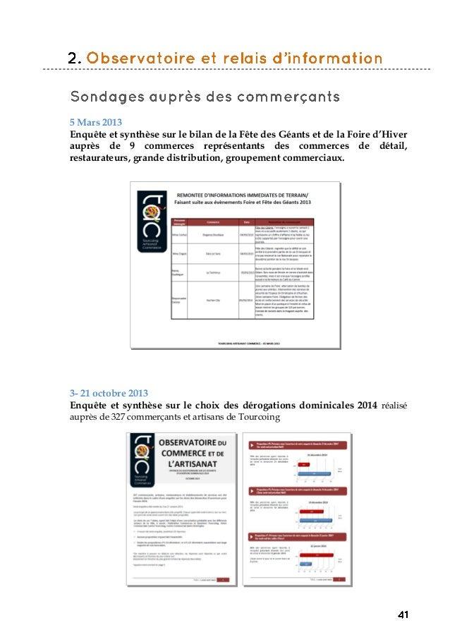 5 Mars 2013 Enquête et synthèse sur le bilan de la Fête des Géants et de la Foire d'Hiver auprès de 9 commerces représenta...