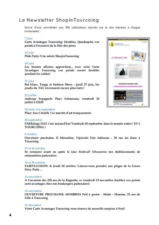 Envoi d'une newsletter aux 500 utilisateurs inscrits sur le site internet à chaque évènement : 7 juin Carte Avantages Tour...