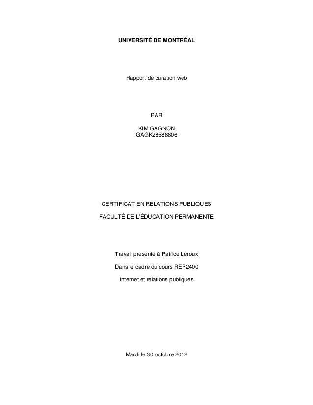 UNIVERSITÉ DE MONTRÉAL        Rapport de curation web                  PAR             KIM GAGNON            GAGK28588806C...