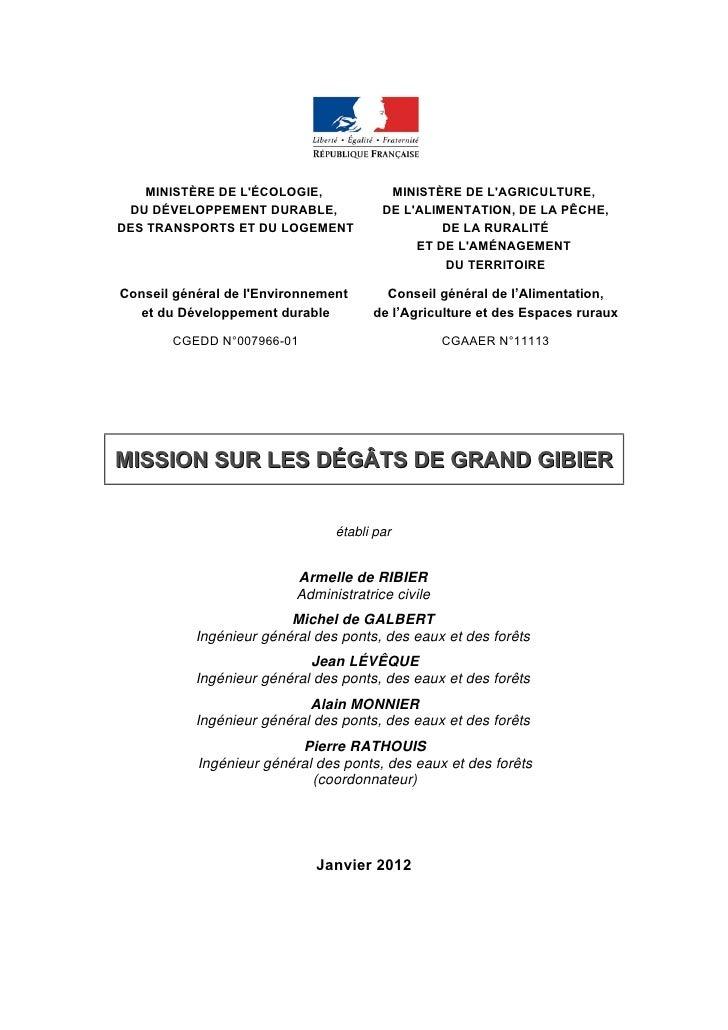 MINISTÈRE DE LÉCOLOGIE,              MINISTÈRE DE LAGRICULTURE, DU DÉVELOPPEMENT DURABLE,              DE LALIMENTATION, D...