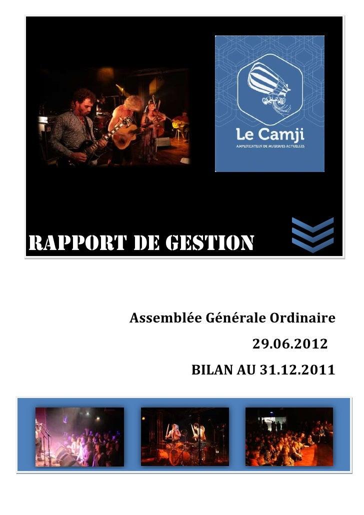 Rapport de gestion        Assemblée Générale Ordinaire                        29.06.2012                BILAN AU 31.12.2011