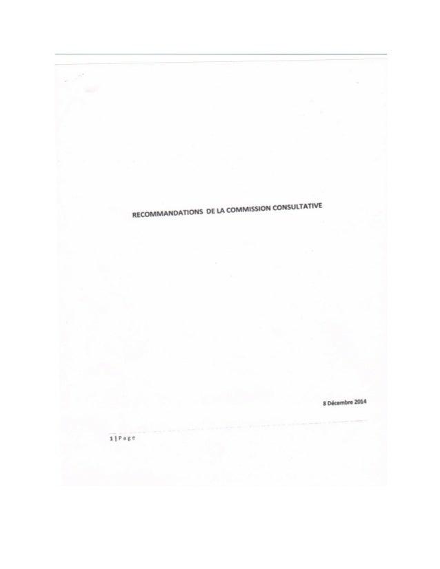 Haiti: Rapport de la Commission Consultative