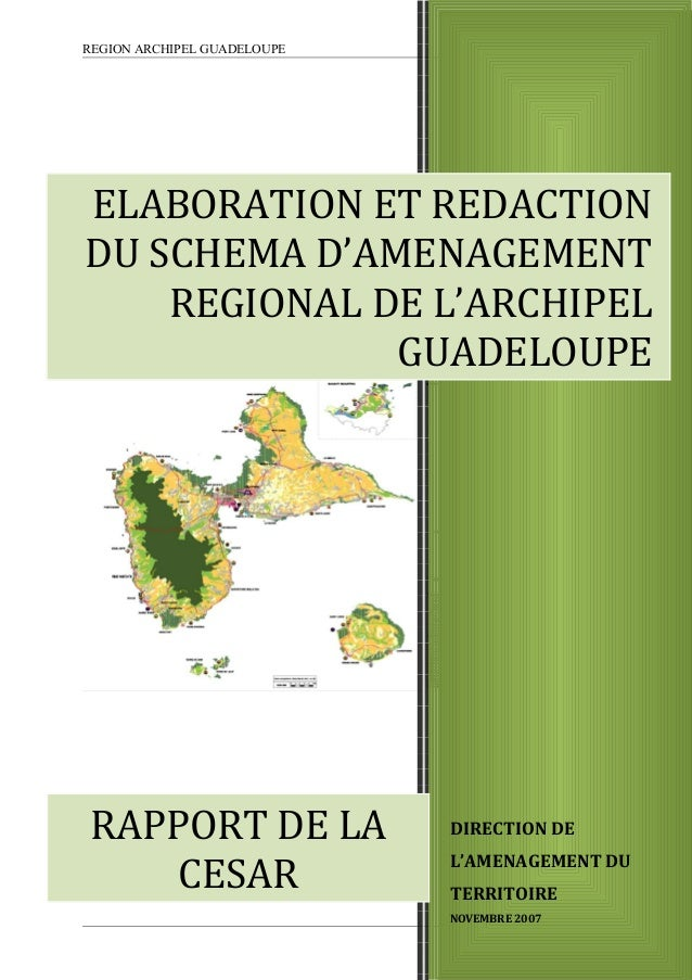 REGION ARCHIPEL GUADELOUPE DIRECTION DE L'AMENAGEMENT DU TERRITOIRE NOVEMBRE 2007 ELABORATION ET REDACTION DU SCHEMA D'AME...