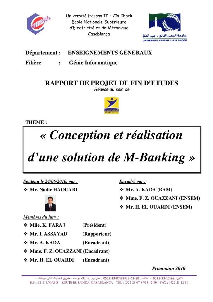 Université Hassan II – Aïn Chock                                    Ecole Nationale Supérieure                            ...