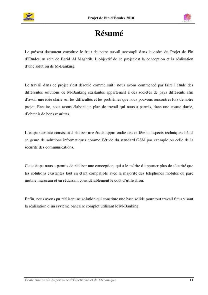 Projet de Fin d'Études 2010                                              Résumé  Le présent document constitue le fruit de...