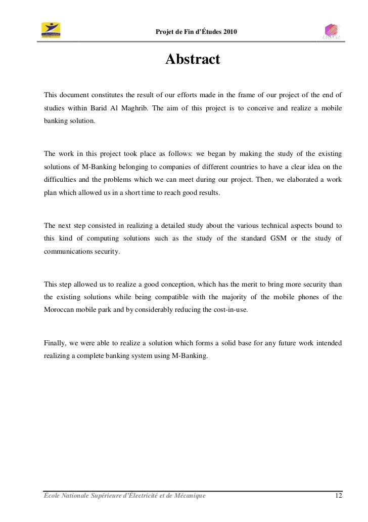 Projet de Fin d'Études 2010                                              Abstract  This document constitutes the result of...