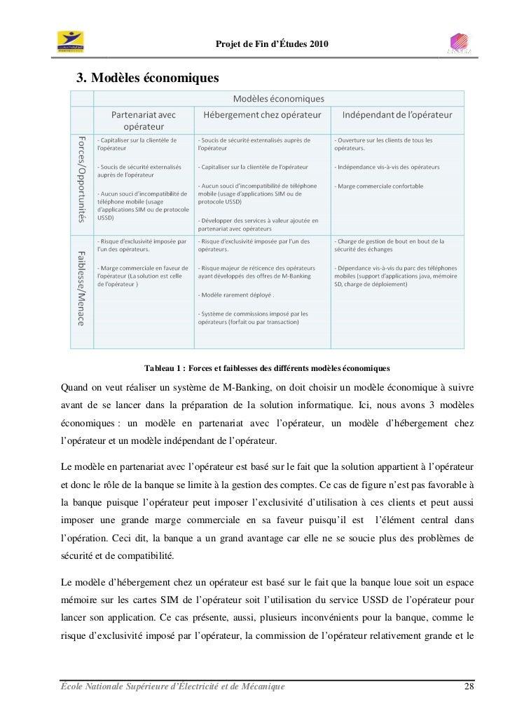 Projet de Fin d'Études 2010      3. Modèles économiques                          Tableau 1 : Forces et faiblesses des diff...