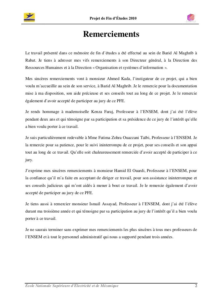 Projet de Fin d'Études 2010                                        Remerciements  Le travail présenté dans ce mémoire de f...
