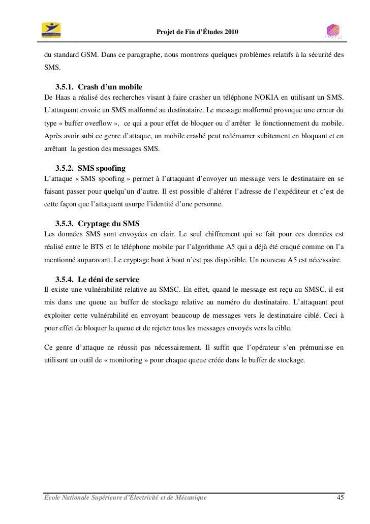 Projet de Fin d'Études 2010   du standard GSM. Dans ce paragraphe, nous montrons quelques problèmes relatifs à la sécurité...