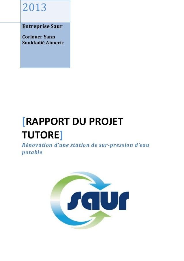 2013 Entreprise Saur Corlouer Yann Souldadié Aimeric [RAPPORT DU PROJET TUTORE] Rénovation d'une station de sur-pression d...