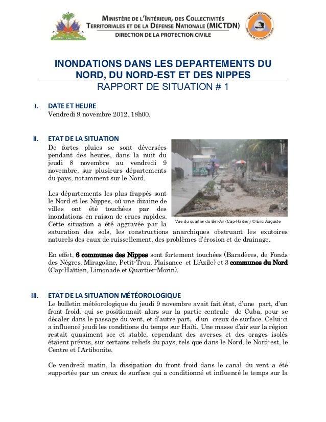 INONDATIONS DANS LES DEPARTEMENTS DU             NORD, DU NORD-EST ET DES NIPPES                RAPPORT DE SITUA...