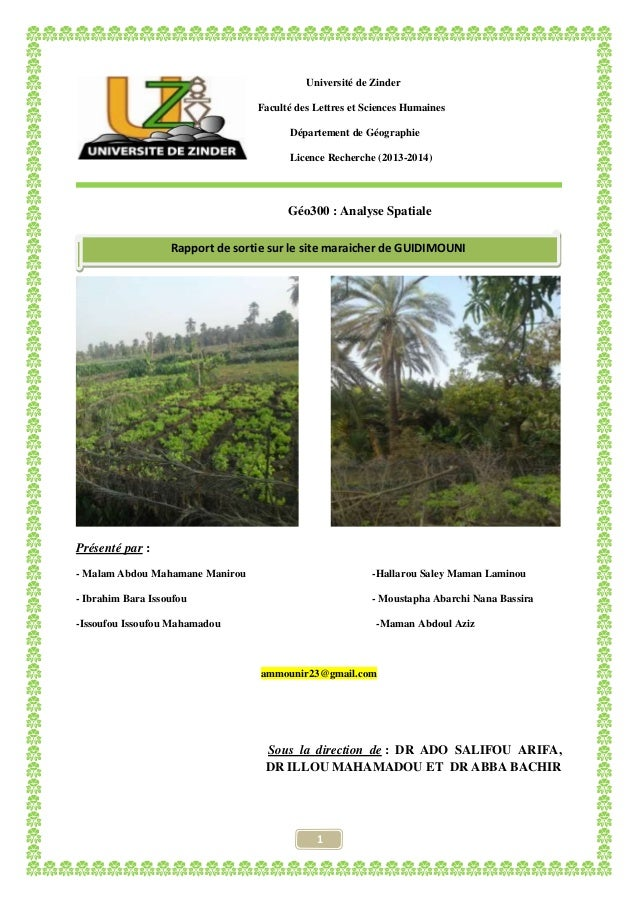 1 Université de Zinder Faculté des Lettres et Sciences Humaines Département de Géographie Licence Recherche (2013-2014) Gé...