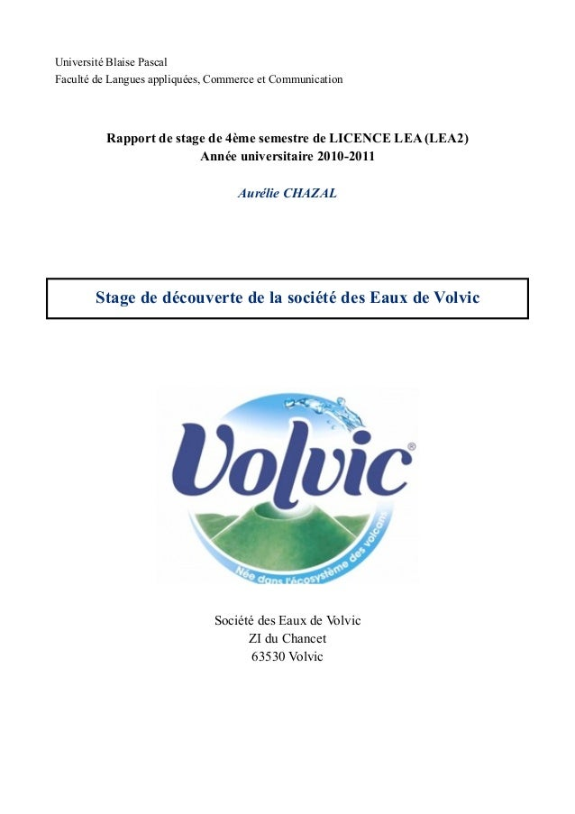 Université Blaise PascalFaculté de Langues appliquées, Commerce et Communication          Rapport de stage de 4ème semestr...