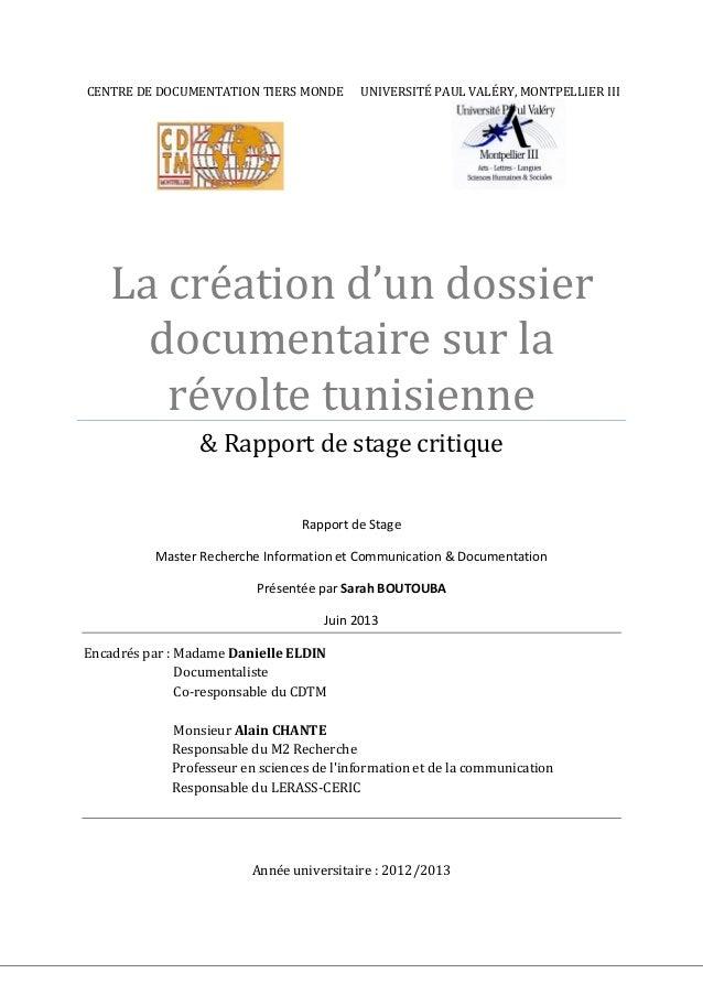 CENTRE DE DOCUMENTATION TIERS MONDE UNIVERSITÉ PAUL VALÉRY, MONTPELLIER III La création d'un dossier documentaire sur la r...