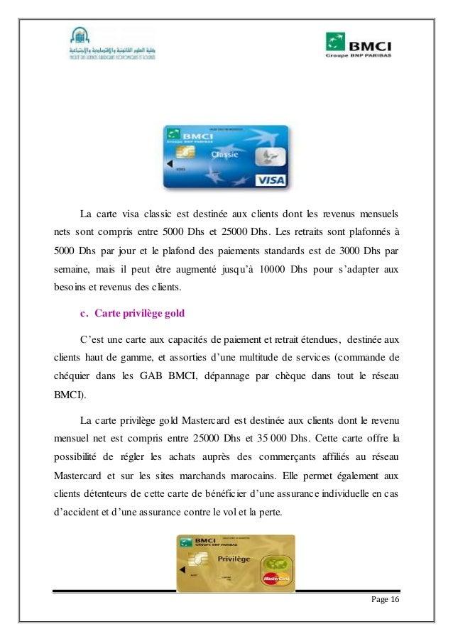 Rapport de stage la banque marocaine pour le commerce et - Plafond de retrait carte visa banque populaire ...