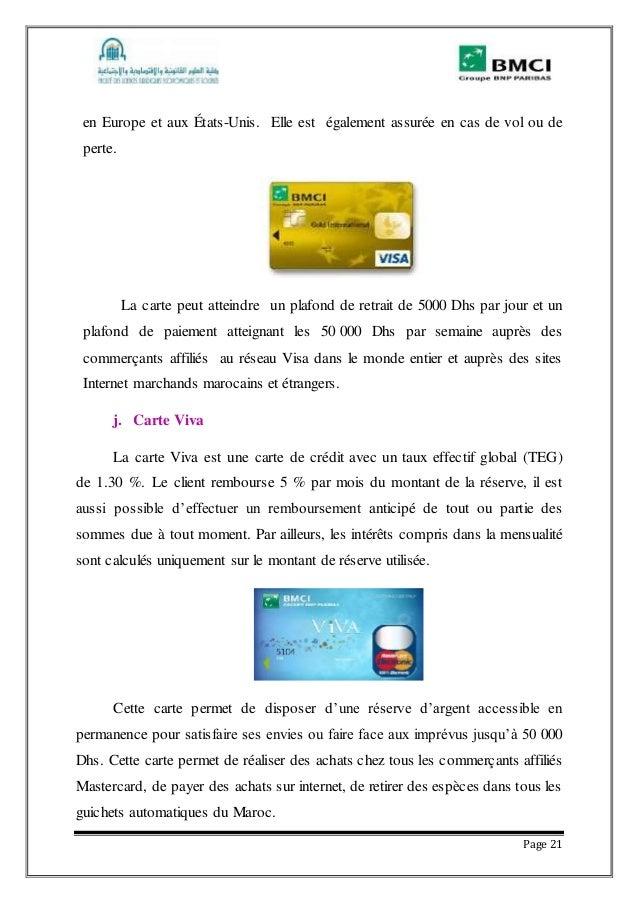 Rapport de stage la banque marocaine pour le commerce et l 39 industri - Plafond de paiement visa premier ...