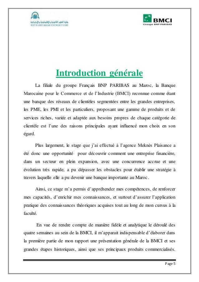 Rapport De Stage A La Banque Marocaine Pour Le Commerce Et L Industri